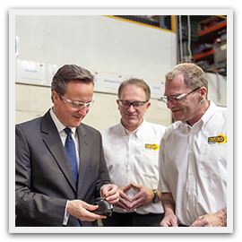 David Cameron on site at Martins Rubber